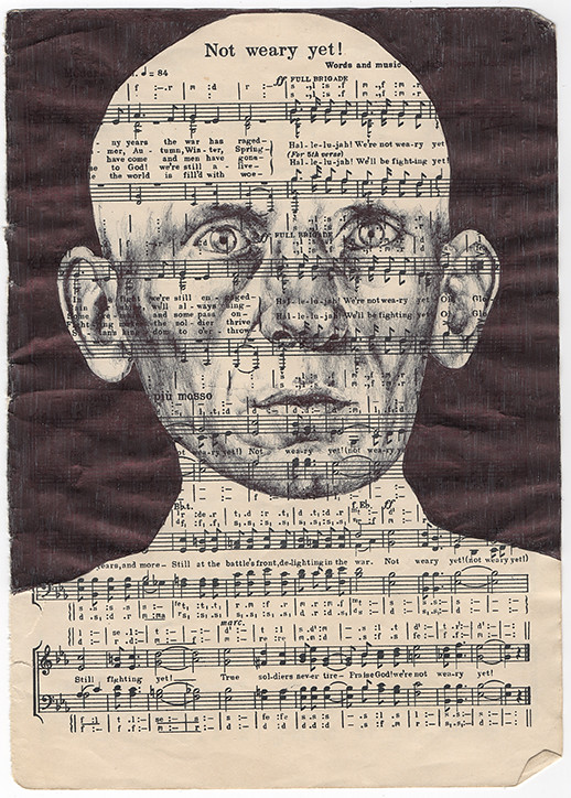'leather boots' Bic biro drawing on a antqiue music sheet.