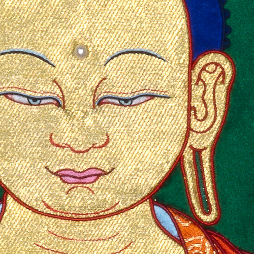Buddha and the Six Supports by Leslie Rinchen-Wongmo, detail of appliqué thangka