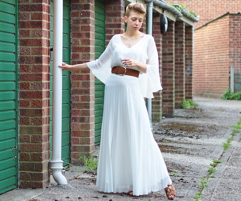 Caped Top - Forever 21, Tan Waisted Belt - Primark, Pleated Maxi Skirt - Jane Norman, Tan Heeled Ghillie Sandals - Tu
