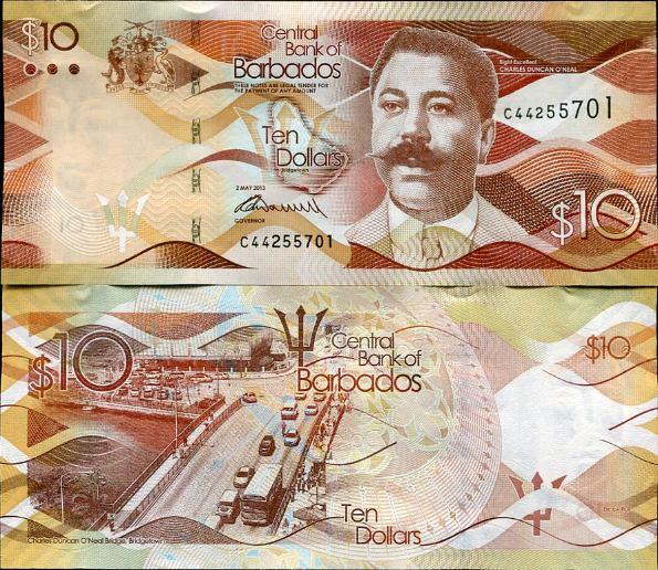 10 Dolárov Barbados 2013