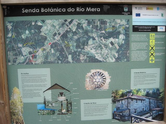 Panel de la senda botánica del río Mera