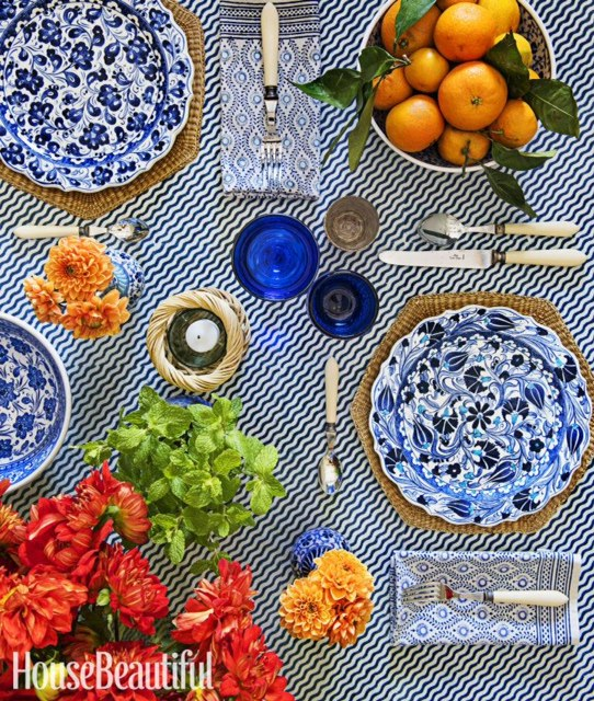 Blue Patterned Tablescape | Summer Table Setting