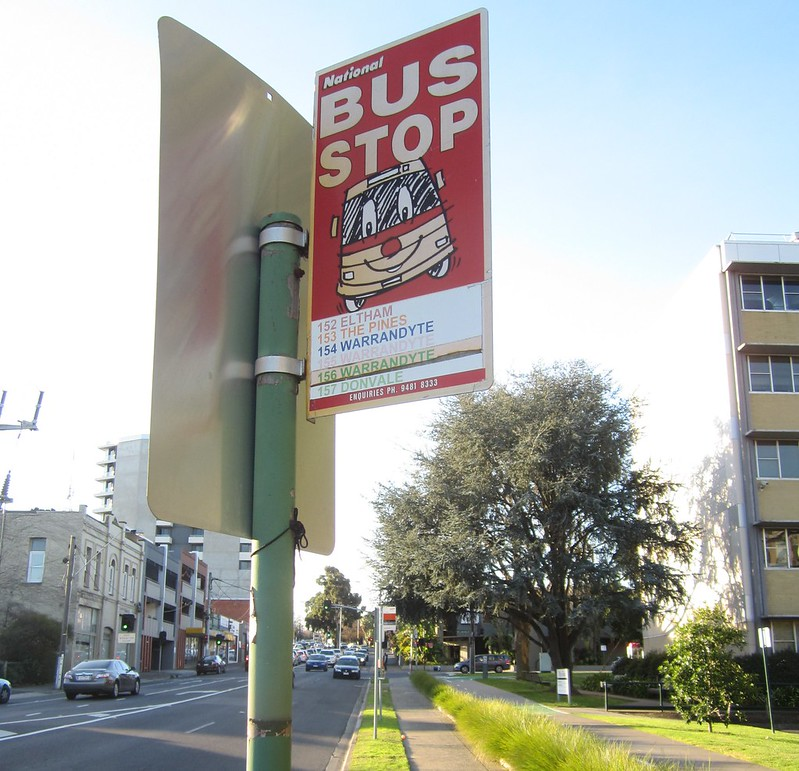 Bus stop sign outside Vicroads
