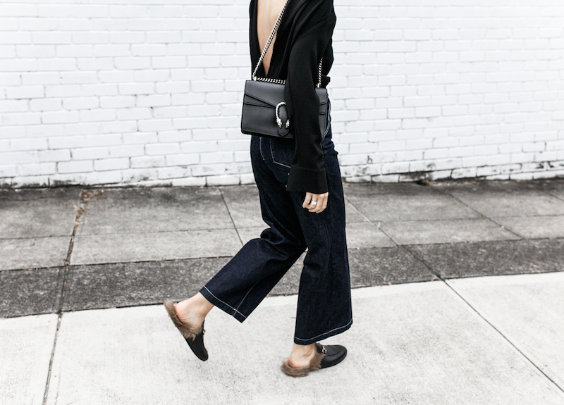 gucci dionysus black chain bag rachel comey wide leg jeans street style inspo minimal fashion blogger fur horsebit loafer Instagram (9 of 14)