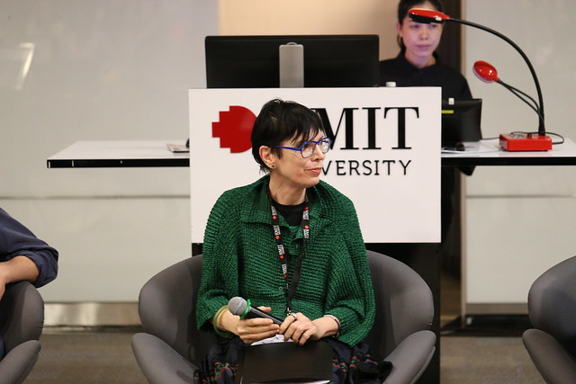 Professor Robyn Healy facilitates a panel discussion with local and international fashion industry experts