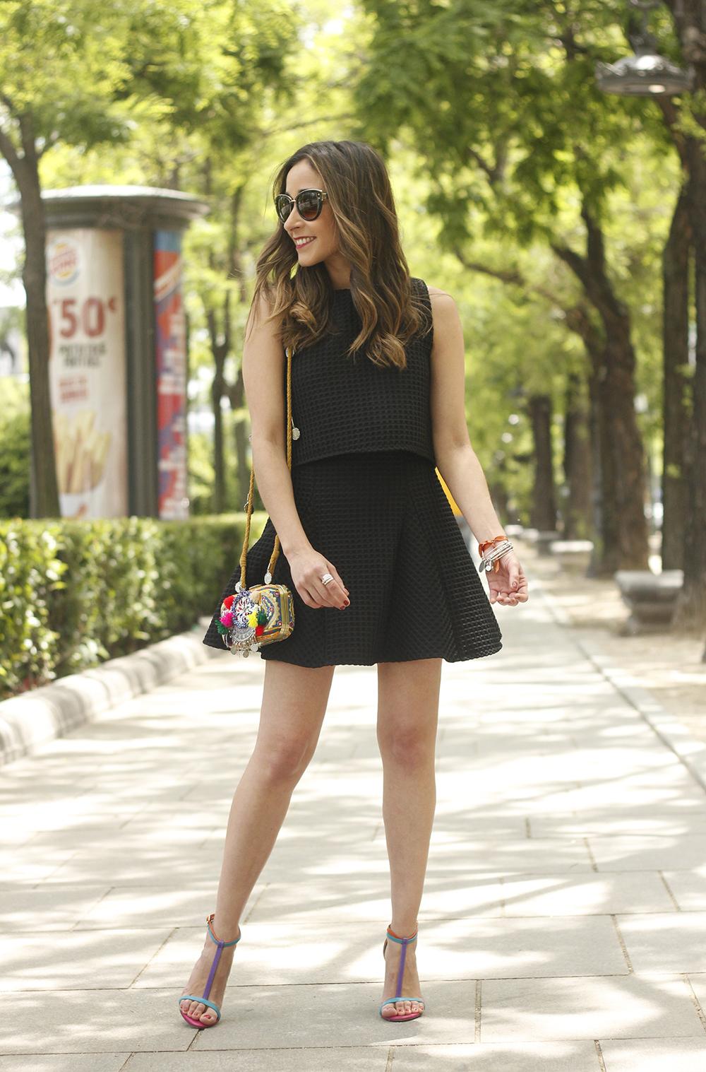 Little black dress maje carolina herrera sandals bag outfit fashion style summer sunnies02