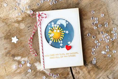 sun, moon and stars shaker card {new mama elephant}