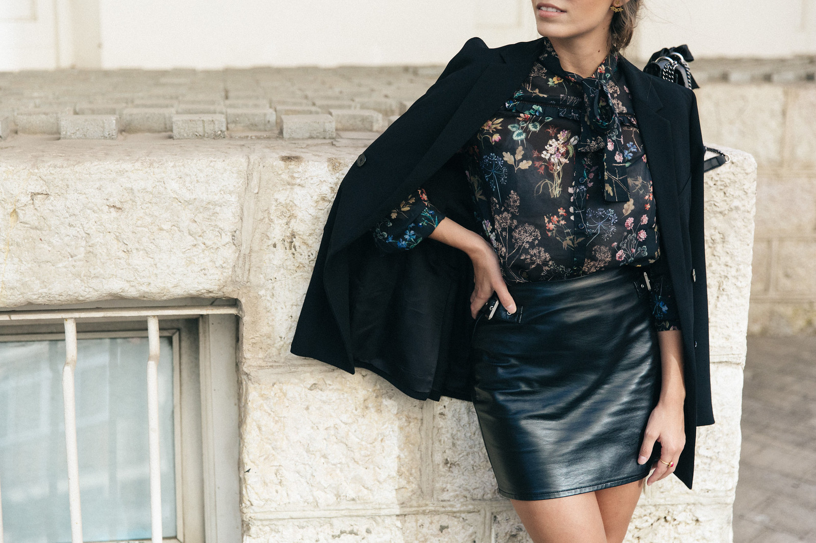 Jessie Chanes Seams for a desire - Buylevard Flowered Shirt Faux Leather Skirt Black Blazer-5