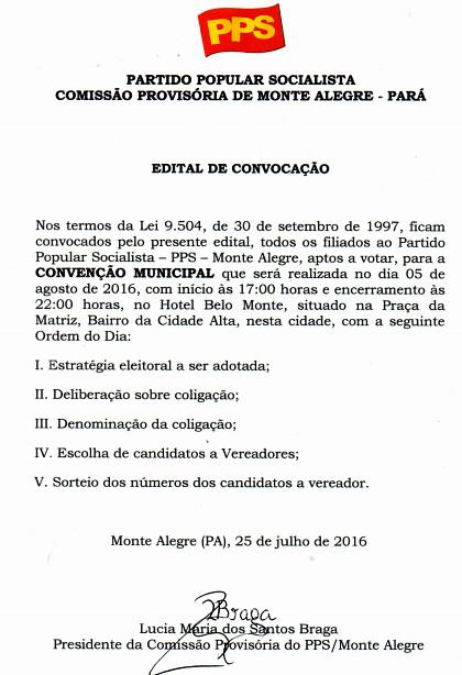 PPS - Edital de Convocação- PPS - convenção - Monte Alegre
