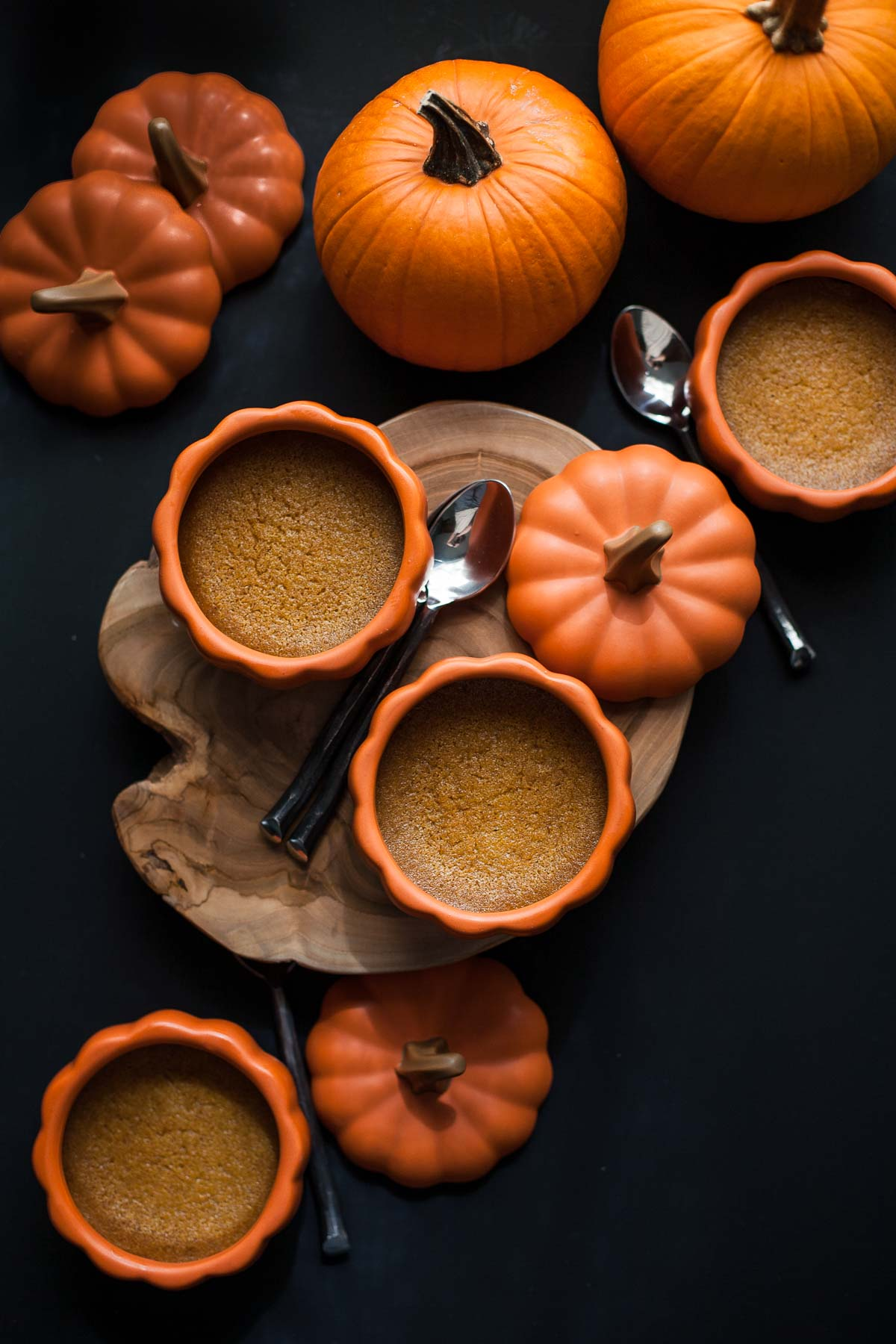 Baked Pumpkin Custards with Maple Mascarpone Whipped Cream (Gluten free, Grain free)