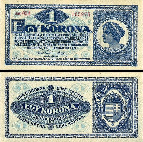 1 Korona Maďarsko 1920, P57