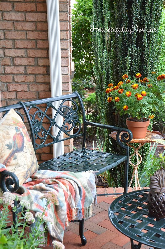 Fall Porch - Bench with Fall Throw and Pillow - Housepitality Designs