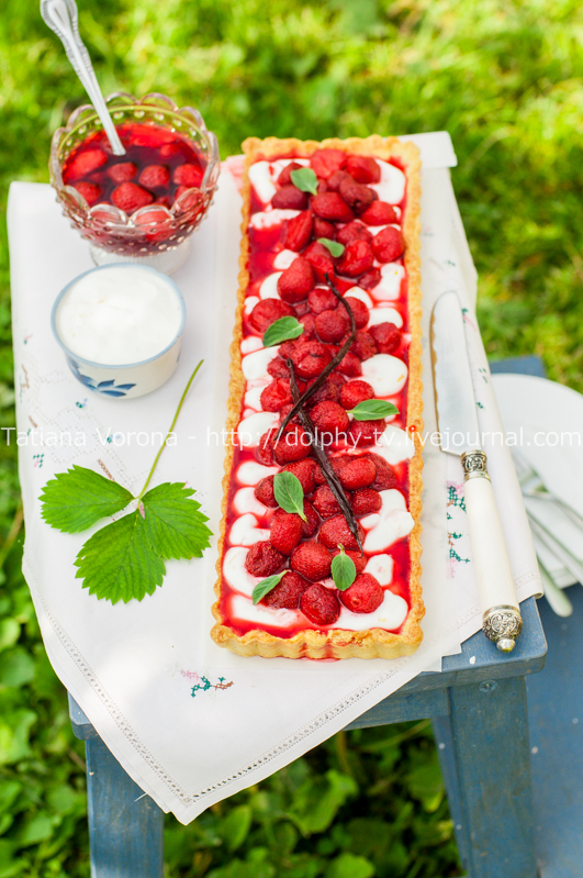 Orange Curd Tart with Vanilla Strawberries