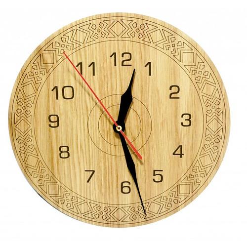 Đồng hồ gỗ hình tròn - hoa văn số 5