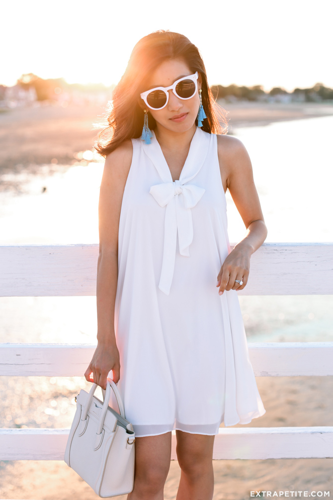 white summer outfit_bow tie dress celine nano sunglasses