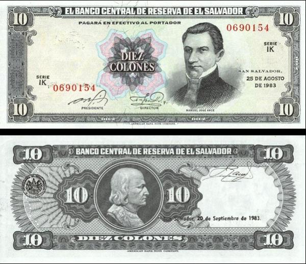 10 Colones Salvádor 1983, P135a