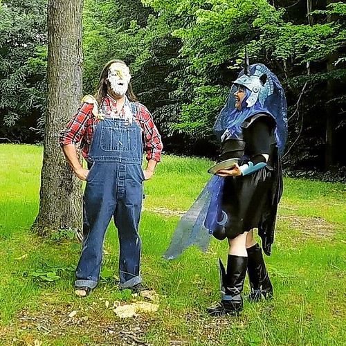 3/3 She takes delight in her handiwork. #pieintheface #overalls #Dickies #bluedenim #plaid #cosplay #mylittlepony #nightmaremoon