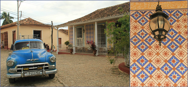 Classic cars and tiled facades