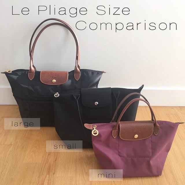 Longchamp Le Pliage Size Comparison on www.whatjesswore.com