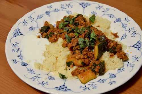 Spiced Lamb & Beef Tagine with Lemon-Garlic Couscous & Labneh