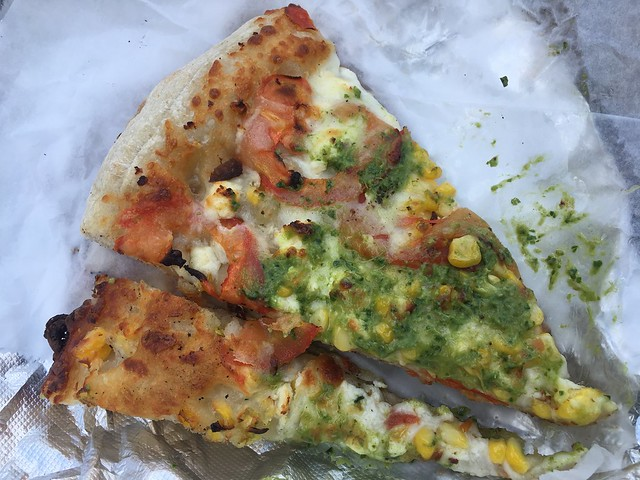 Fresh corn and Roma tomato pizza - Arizmendi Bakery