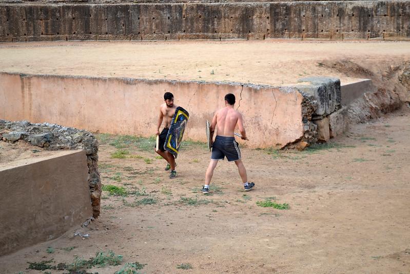 Gladiadores entrenándose