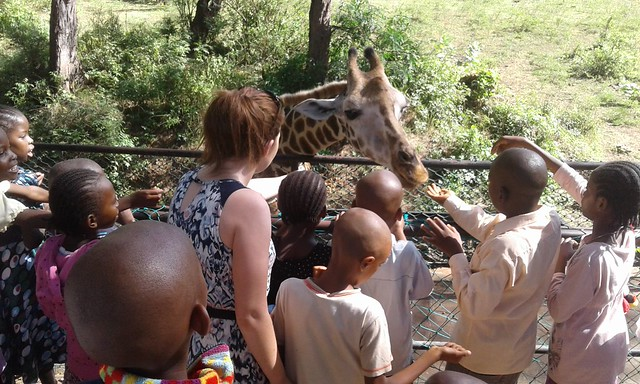 Not every day you get to feed a giraffe Stacey