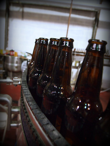 Bottles on bottling line