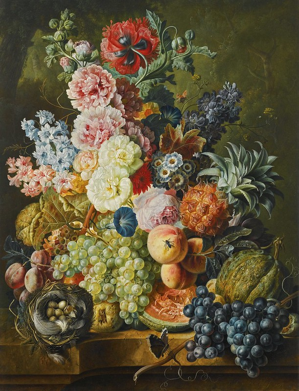 Paul Theodor van Brüssel - Still life of fruits and flowers together with a birds nest arranged upon a stone ledge (c.1794)