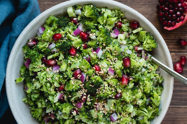 Broccoli Chopped Salad with Tahini Vinaigrette
