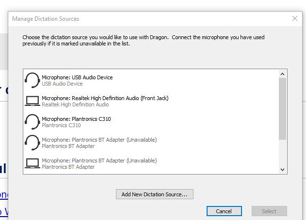 dragon naturally speaking manage dictation sources