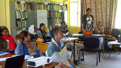 Tigist sharing her experience to other Knowledge Center Managers (Photo Credit:ILRI\Beamlak Tesfaye)