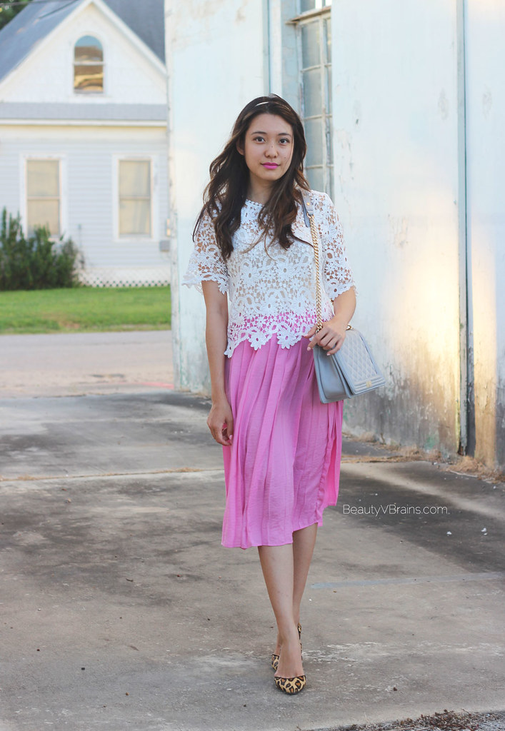 Pink pleated midi skirt lace scallop top summer outfit