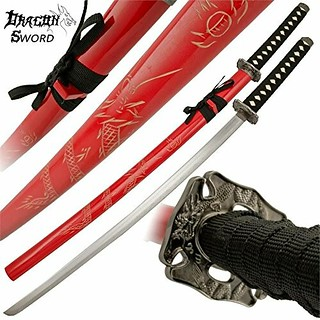Samurai-sword-dragon-katana-red