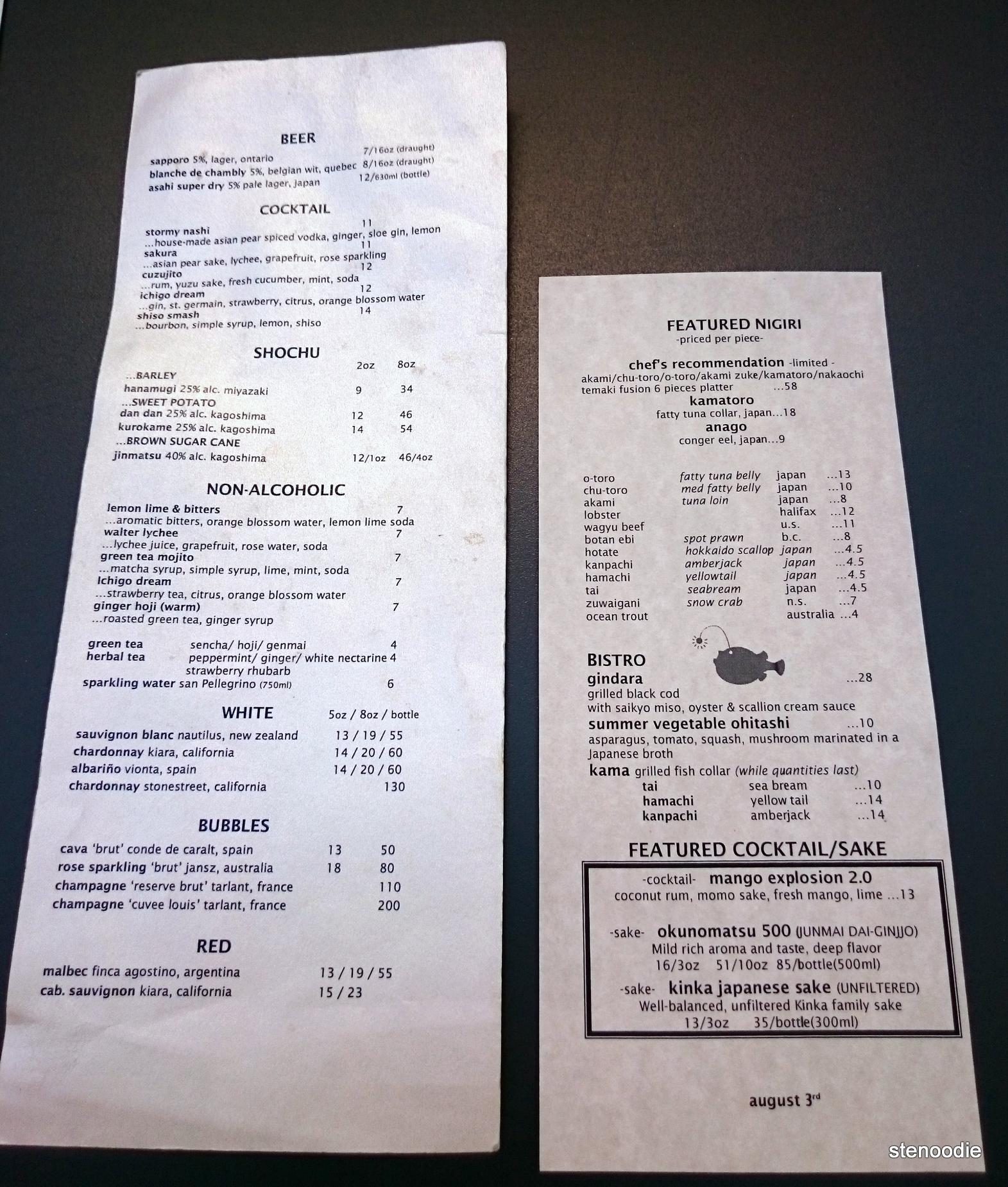 JaBistro drink menu