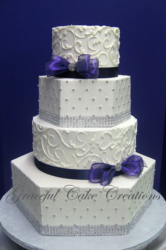 purple white silver wedding cakes and hexagon wedding cake iced in white 18928