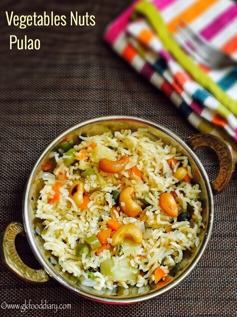 Vegetables Nuts Pulao Recipe for Toddlers and Kids4