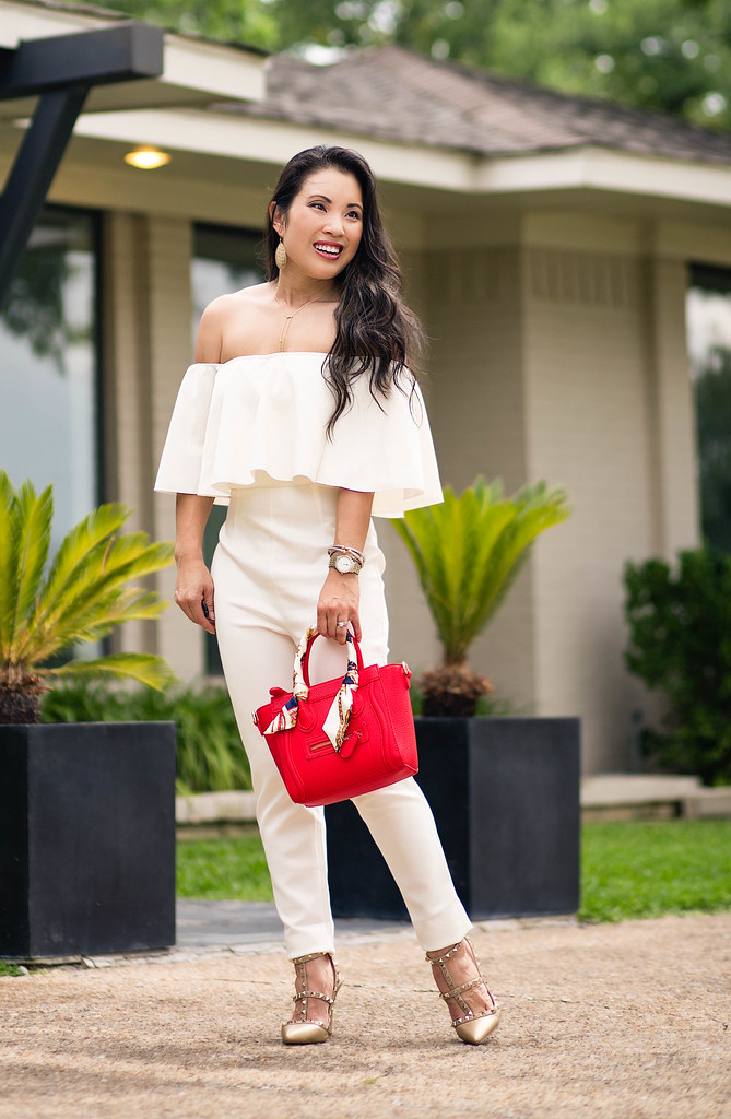 white off-shoulder ruffle jumpsuit, red celine nano bag | summer outfit