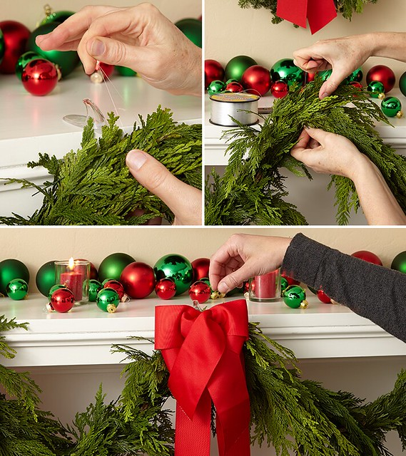 How to hang pine garlands on a fireplace mantel for Christmas with bows and other holiday decorations
