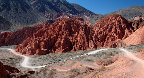 Trail through the Cerros de Siete Colores (Hills of Seven Colours) in Pumamarca, Argentina