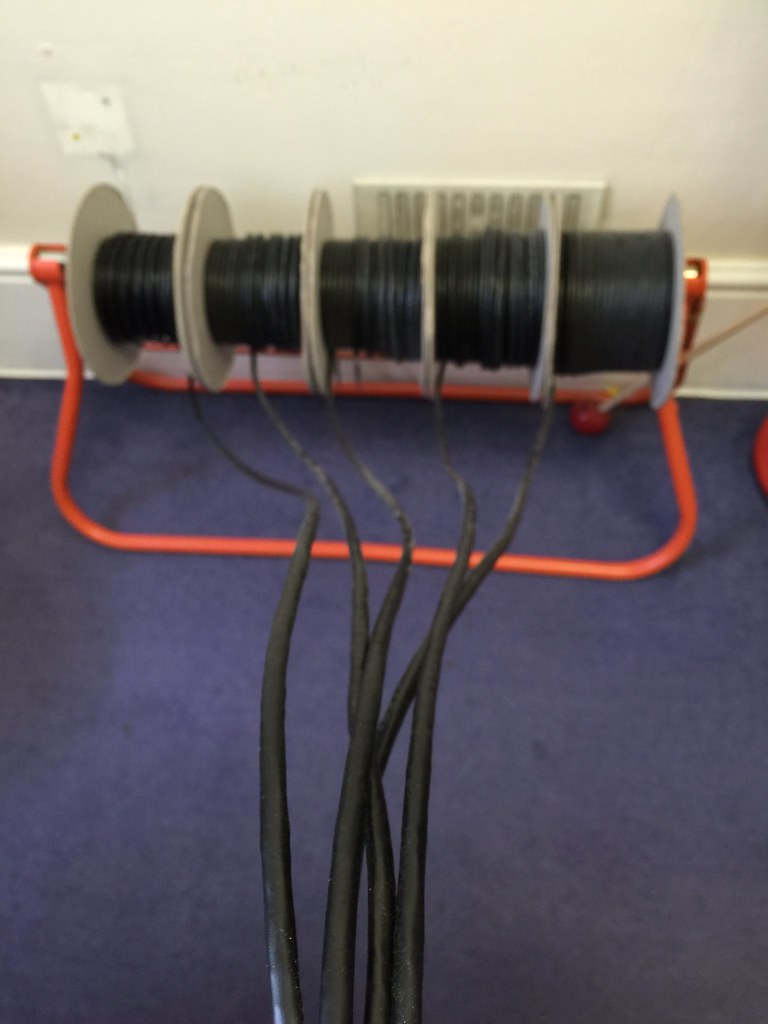 It's quick to lay cable from proper drums, from a cable stand