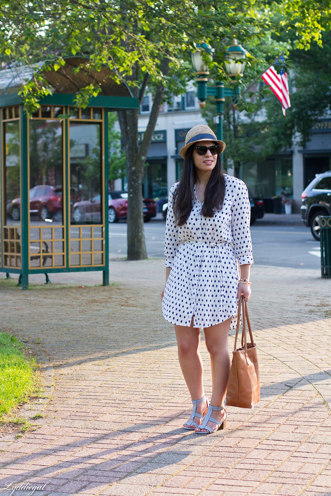 polka dot dress, straw fedora, blue sandals-2.jpg