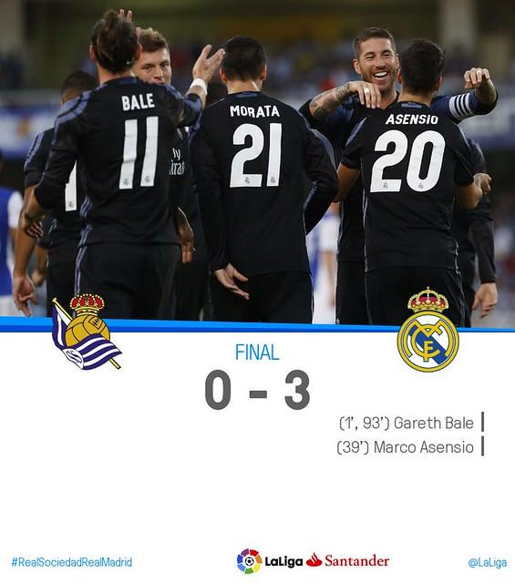 La Liga: Real Sociedad 0 - Real Madrid 3
