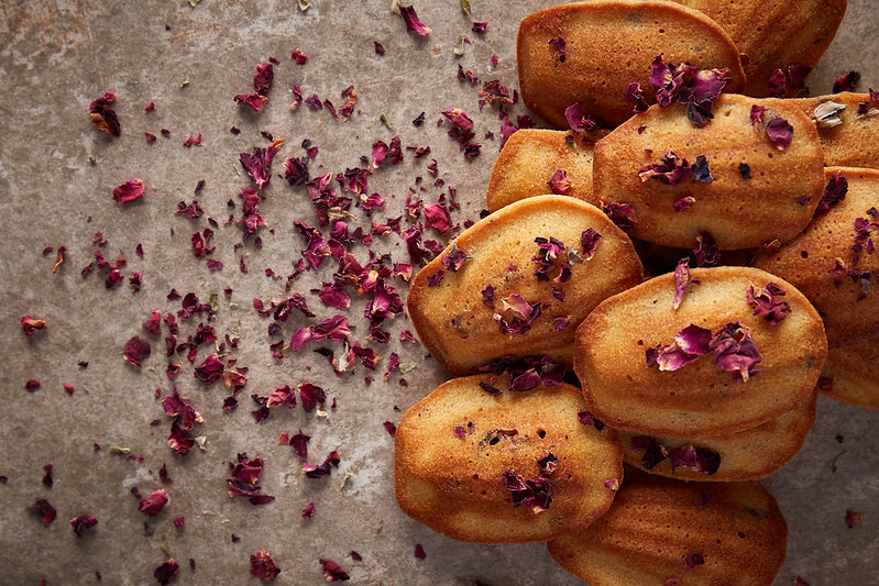 Spelt madeleines with rosewater