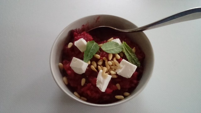 Beetroot, feta and pinenut risotto