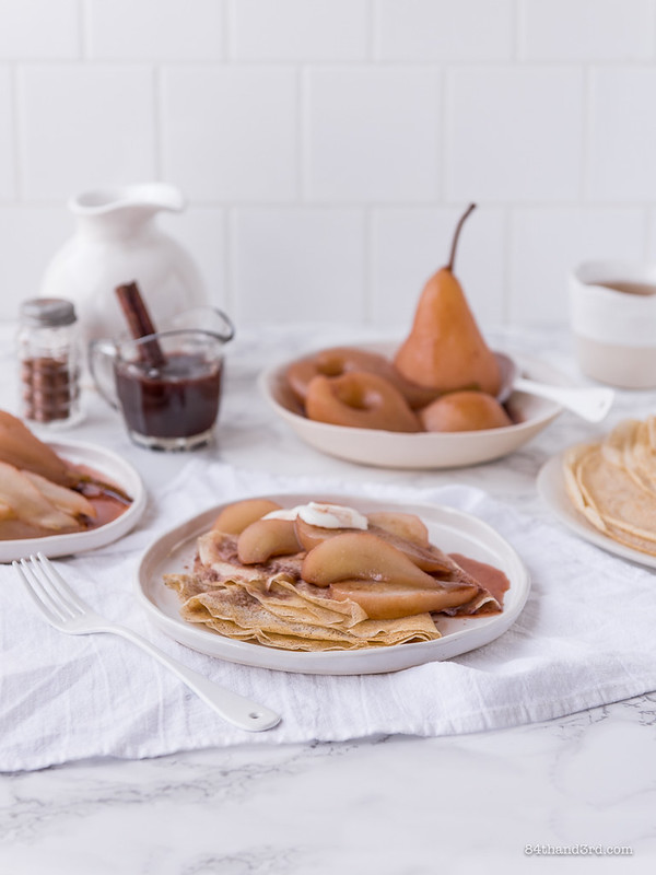 Spelt Crepes Mulled Wine Poached Pears
