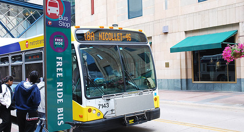 Free ride bus sign, Metro Transit, Nicollet Mall, Minneapolis