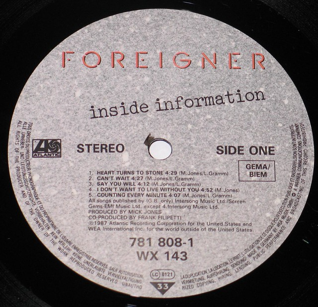 "Foreigner Inside Information 12"" vinyl LP"