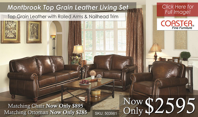 Montbrook Leather Living Set by Coaster