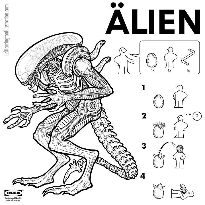IKEA Instructions for Horror Fans - Alien by Ed Harrington